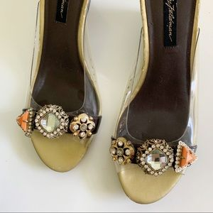 ffdc8ff11136 Beverly Feldman | Studded Clear Sandals